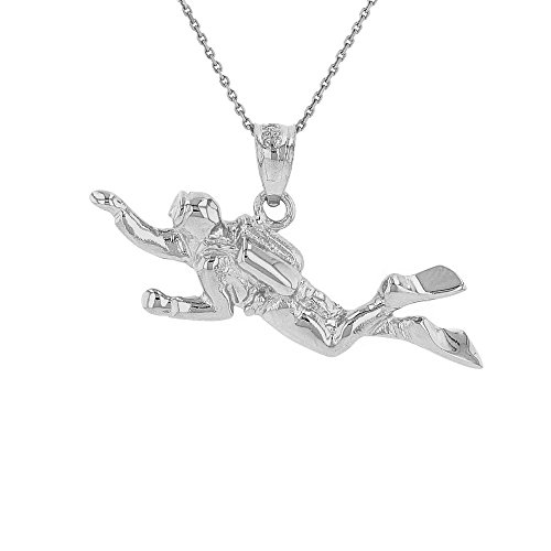Sports Charms Sterling Silver 3D Scuba Diver Diving Frogmen Pendant Necklace, 16'
