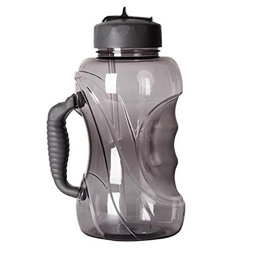 HBYXGS Botella de Agua de la Paja de la Botella de los Deportes al Aire Libre de la Gran Capacidad de la Taza de Agua 1.5L con la manija (Color : Dark Gray)