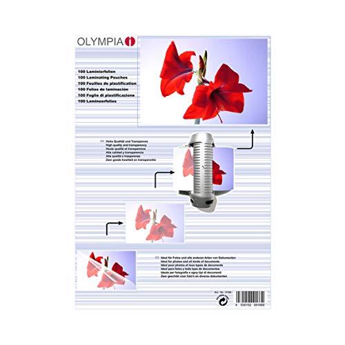 Olympia 9166, Laminierfolien, DIN A4, 80 mic, 100 Stück, glänzend/transparent, geeignet für alle Heißlaminiergeräte