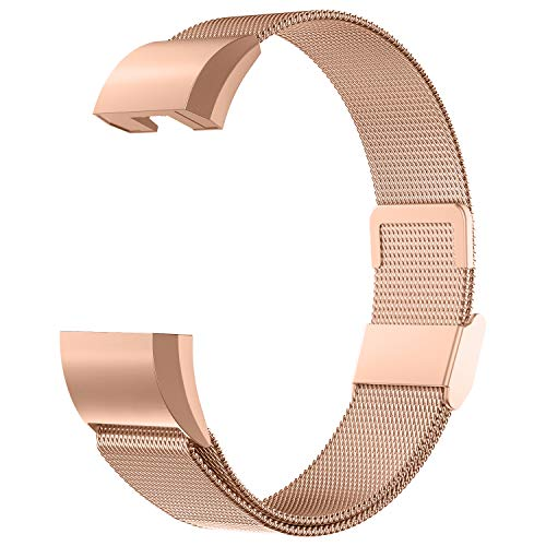 Adepoy für Fitbit Charge 2 Armband, Metall Edelstahl Ersatzarmband Kompatibel mit Fitbit Charge 2 Fitness Tracker, Fitbit Charge2 Armbänder (Rose Gold, Klein)
