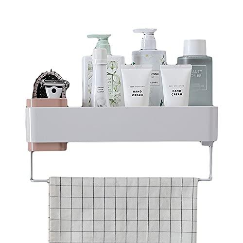 OUMTG Organizador de ducha con barra de toalla, estante organizador de baño multiusos para cocina o inodoro, estante de baño montado en la pared (color rosa