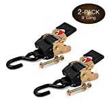 2 Quick n Easy AutoRetract Strap Cargo Tie Downs - Retractable 1 Inch x 9 Ft Bolt-on Ratchet Straps w/S Hook for Trailers & Pickups - 1,200 lbs Break Strength - DC Cargo Mall