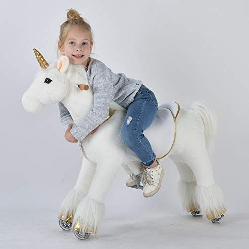 UFREE Ride on Unicorn Toy, Riding Plush Walking Unicorn for Girls, Birthday Gift for Children 4 to 9 Years Old, Height 36 Inch