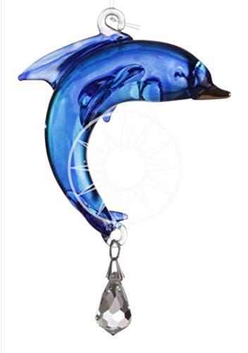 hecho a mano FANTASY GLASS Delfín CRISTAL caireles REGALO ZAFIRO AZUL