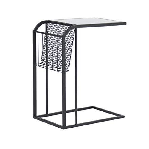 Salontafel van hout, bijzettafel sofabureau kleine eettafel tuintafel buitenshuis nachtkastje, 45 * 30 * 65 cm (kleur: wit) zwart