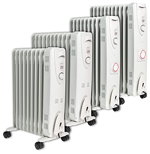MYLEK Oil Filled Radiator with Adjustable Thermostat and 24 Hour Timer - 3 Heat Settings - Electric Portable Heater 9 Fin - Energy Efficient - 2000W / 2kW - Safety Tip Over & Safety Cut Off