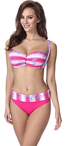 Merry Style Damen Figurformender Bikini F13 (Muster-317, Cup 75E / Unterteil 38)