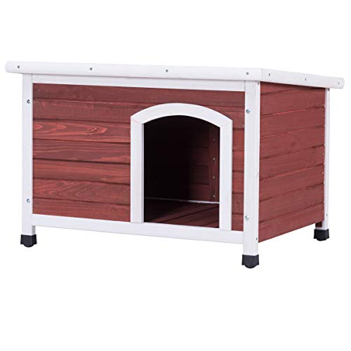 Tangkula Dog House Outdoor Wooden Home Weather Resistant Pet Shelter Log Cabin
