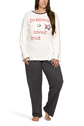 Moonline Plus - Pijama de Mujer en Tallas Grandes (XL-4XL) con Estampado 'Dreams Come True',...