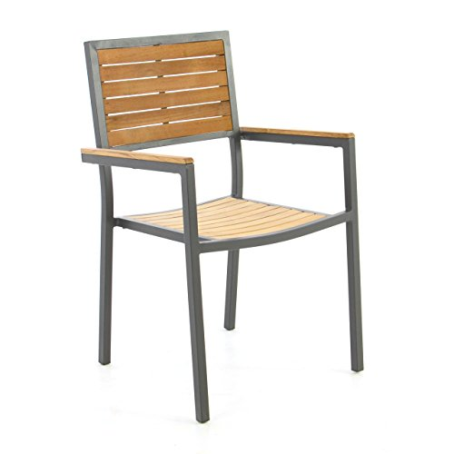 Nexos Trading Nexos Gartenstuhl Stapelstuhl Holzstuhl Terrassenstuhl mit Armlehnen - Teak-Holz Aluminium - 87x55x50 cm - pflegeleicht robust stapelbar - Farbe: Alu - grau/Holz - braun