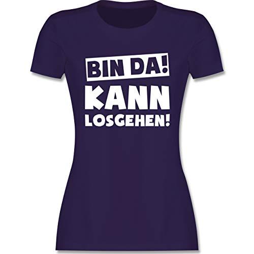 Sprüche - Bin da kann losgehen - L - Lila - t Shirt mit Spruch Damen - L191 - Tailliertes Tshirt für Damen und Frauen T-Shirt