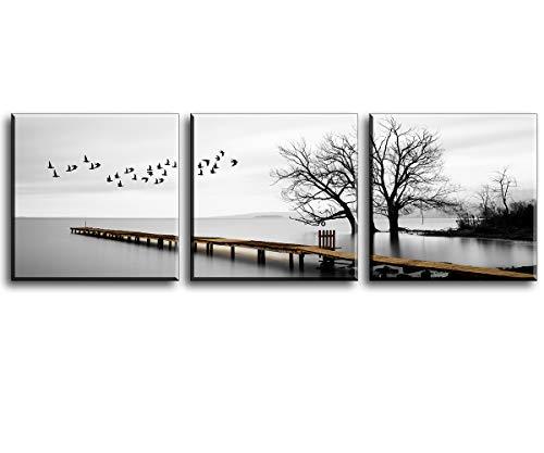 Piy Painting Landschaft der Vögel die frei auf dem See im Winter fliegen Wandbilder Bilder und Kunstdrucke auf Leinwand Leinwandbild Ölgemälde Home Deko für Wohnzimmer Schlafimmer Küche 30x30 cm 3Set