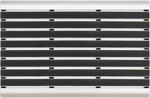 Desan – Felpudo de aluminio elegante mate, 15 mm de aluminio para interior y exterior, para puerta de casa, rampa de aluminio, en 2 tamaños, negro, PVC, 39 x 60 cm