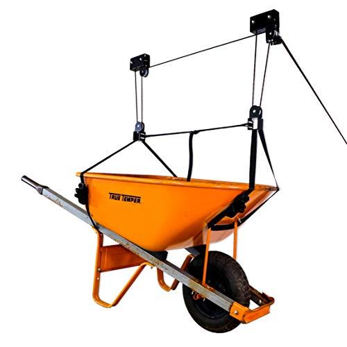 StoreYourBoard Wheelbarrow Ceiling Storage Hoist, Hi Lift Home and Garage Organizer, Hanging Pulley Rack