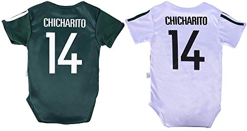 World Cup Baby Chicharito #14 Mexico Soccer Jersey Baby Infant and Toddler Onesie Romper Premium Quality - Home and Away PACK OF 2 (6-12, Pack of 2)