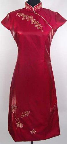 Shanghai Tone Cheongsam Embroidery Mini Dress Burgundy Available Sizes: 6, 8, 10, 12, 14, 16 (disfraz)