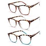 JAVIOL Vintage Reading Glasses 3 Pack Spring Hinge Ultra-Clear Vision Whenever & Wherever