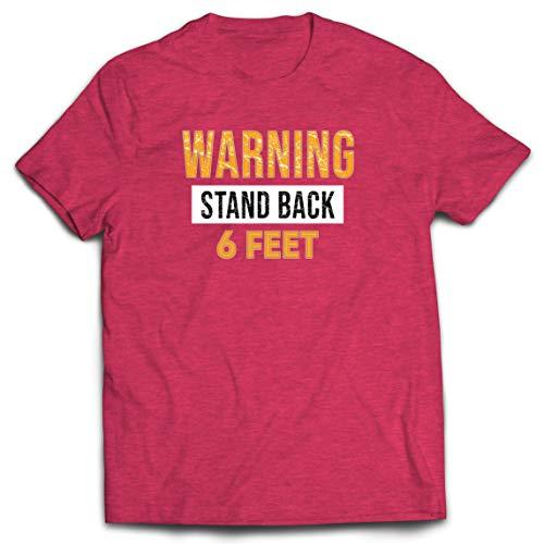 lepni.me Camisetas Hombre Señal de Advertencia Retroceda 6 Pies Mantenga una Distancia Social Segura (XX-Large Brezo Rojo Multicolor)