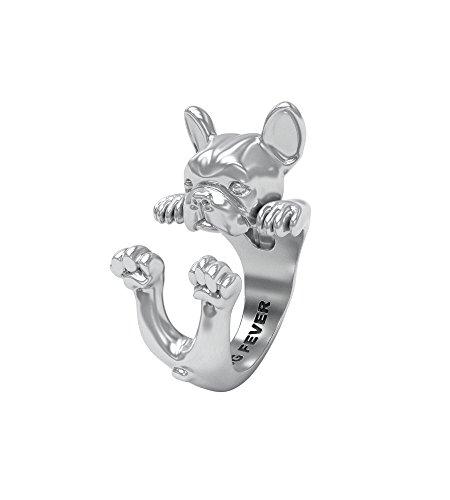Dog Fever Anillo Hug Bulldog francés perro dog silver ring