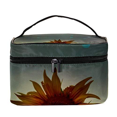 TIZORAX Night Sunflower Cosmetic Bag Travel Toiletry Case Large Makeup Organizer Box