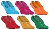 Rainbow Socks - Mujer Hombre - Coloridos Bunte Calcetines Barco Invisibles de Algodón - 6 Pares - Azul Fucsia Naranja Rojo Amarillo Verde - Tamaños 36-38