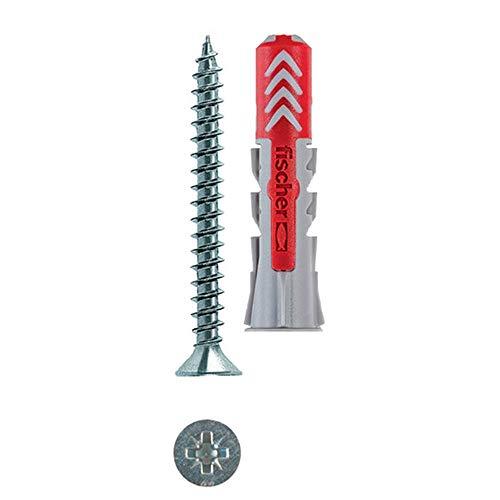 Fischer 50 Tasselli Duopower con Vite, 8 x 40 mm, per Muro pieno, Mattone Forato, Cartongesso,...