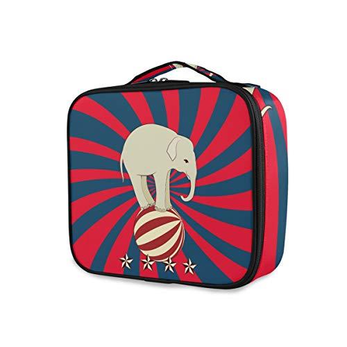 LUPINZ Trousse à maquillage Motif éléphant Jouant Balle avec bande bleue et rouge