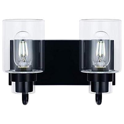 Contemporary 2-Light Vanity Light Fixture Modern Clear Glass Shades Lighting Black Dining Room Lighting Fixtures (2-Light)