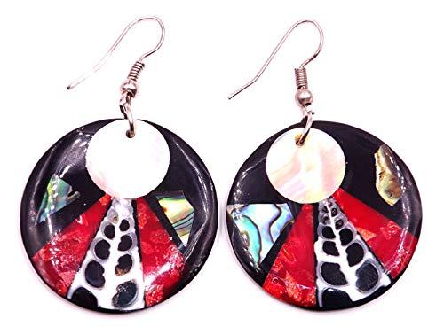 Pendientes de nácar con concha artesanal étnica shell Mother of Pearl, pendientes de coral rojo
