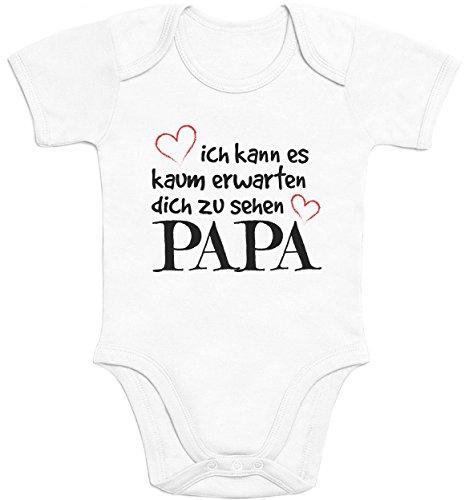 Shirtgeil Ich Kann Es Kaum Erwarten Dich Zu Sehen Papa Baby Body Kurzarm-Body, Weiß, 40/56 (0-3M)