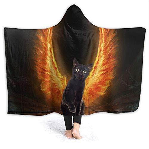Sudadera con capucha y alas de gato, con capucha, para mujer, resistente al viento, para oficina en casa, casa, chal de franela con mangas, 152 x 127 cm