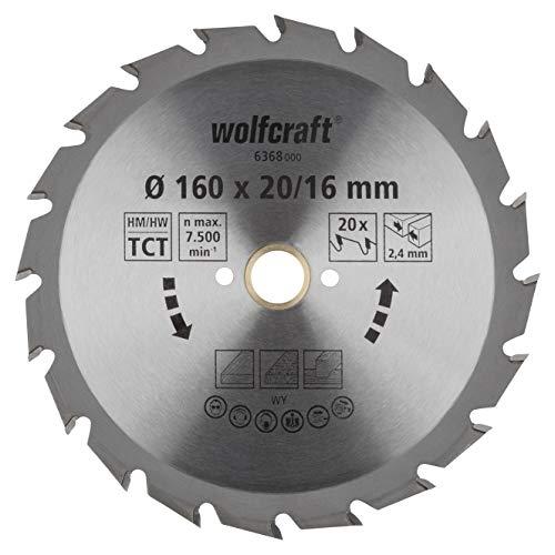Wolfcraft 6368000 | Handkreissägeblatt HM | Serie grün | 20 Zähne | ø160mm