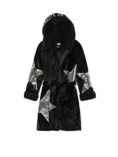 VS Pink Victoria's Secret Pink New Cozy! Bling Sherpa Lined Robe Black NWT XSmall/Small