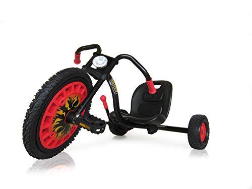 Hauck Typhoon Trike für Kinder ab 4 Jahren, Dreirad-Chopper mit unplattbarem Frontantriebsrad und verstellbarer Sitzschale, Handbremse - Schwarz/Rot