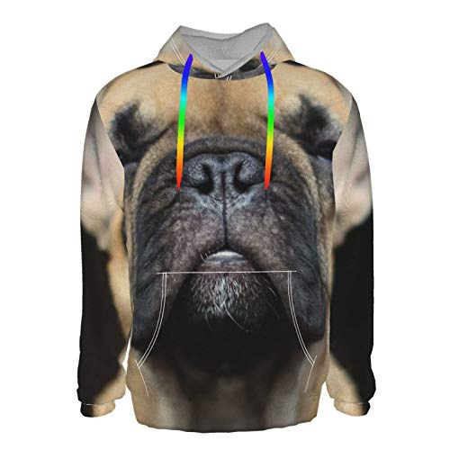 Nicokee Mens Pullover Hoodie Funny French Bulldog Sweatshirt Long Sleeve 3d Print T-Shirt With Front Pocket