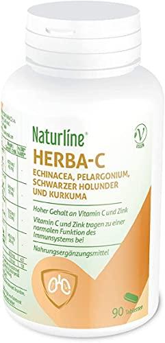 Naturline® Herba-C | Vitamin C und Zink hochdosiert, mit Echinacea, Pelargonie, Holunderbeere und Curcuma | 90 Tabletten | Immunsystem und Atmungssystem Unterstützung