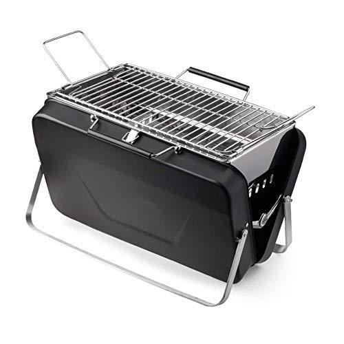 MUzoo Parrilla de carbón de leña Parrilla Plegable de Barbacoa Plegable para Acampar al Aire Libre para Kabob Kabab, Negro