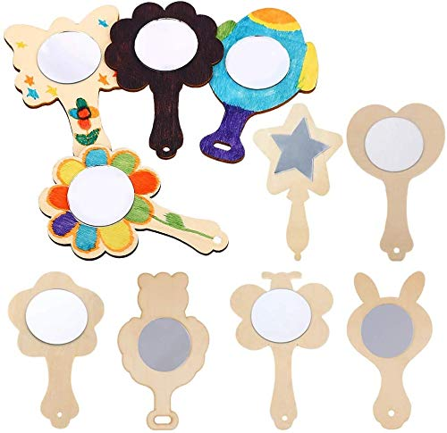 Vankcp 27pcs Creative DIY Wooden Mirror Mini Wooden Craft Painting Princess Mirror Toys for Kids DIY Handmade Craft