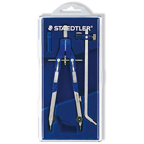 Staedtler Mars Comfort 552 01 Zirkel, Schnellverstellzirkel, auswechselbare Nadel, Schenkel abknickbar, Durchmesser Zeichenkreis: 350 mm, Länge: 170 mm, Farbe: blau, silber, Klappdeckeletui