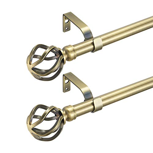 """YunNephele 2 Pack Curtain Rod 72-144 inch - Antique Brass, 3/4"""" Diameter Adjustable Two Pack Curtain Rods, Metal Drapery Rod with Classic Twisting Cage Finials"""