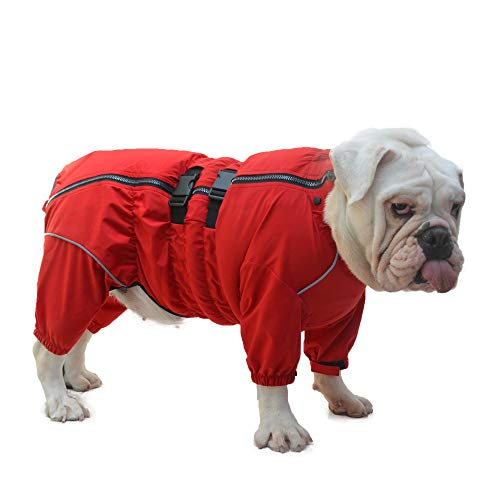 Lovelonglong Dogs Waterproof Jacket, Lightweight Waterproof Jacket Reflective Safety Dog Raincoat Windproof Snow-Proof Dog Vest for Pugs English French Bulldog American Pit Bull Red B-L
