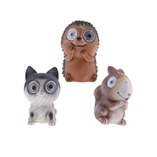 Pack De 3, Figura De Figura De Estatua De Luces De Animales De Ojos Brillantes LED Solares, Gato Erizo Y Ardilla