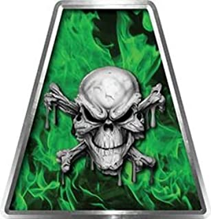 Fire Fighter, EMS, Rescue Helmet Tetrahedron Decal Reflective in Inferno Green with Skull