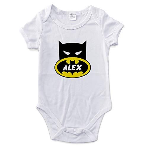 LolaPix Body Personalizado Bebé con Nombre. Regalos Personalizados para Bebés. Bodies Personalizados Manga Corta. Varias Tallas. Interior 100% de Algodón. Batman