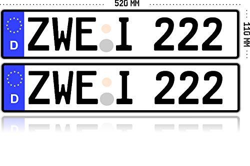 1 KFZ-Kennzeichen EU 520 mm x 110 mm Autoschild mit Wunschkennzeichen