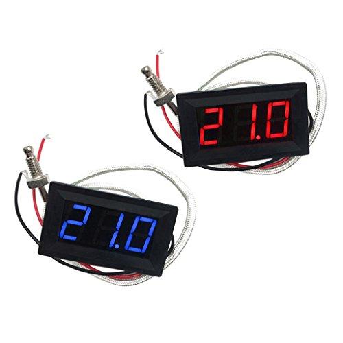 2pcs (Rot/Blau) LED Autothermometer Innen/Außen DC 12V Auto KFZ Thermometer Digital Thermometer Panel-Meter -30 bis +800 ℃