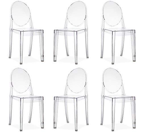 MilaniHome Set 6 sedie Trasparenti in policarbonato per Interno Sala da Pranzo Salotto Cucina Ufficio Camera Ristorante Bar gelateria albergo Hotel