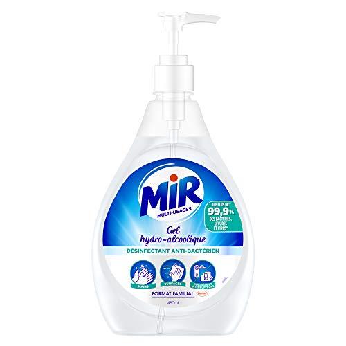 Mir Multi-usages – Gel Hydroalcoolique – Antibactérien Mains et Surfaces – 480ml