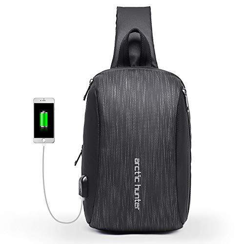 Herren Brusttasche Anti-Diebstahl Brustbeutel Sling Rucksack Wasserdicht Schultertasche Daypack Sporttasche mit USB-Port und Isolierfach - Grau