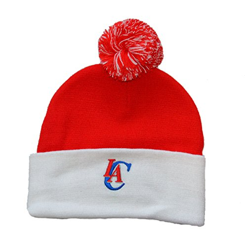 Adidas Beanie mit Pom Pom – NBA Cuffed Winter Knit Toque Gap, unisex damen Jungen Herren, Los Angeles Clippers